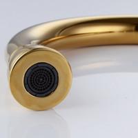 arc kitchen faucet - Classic Single Handle High Arc Kitchen Sink Faucet with Swivel Spout Titanium Gold