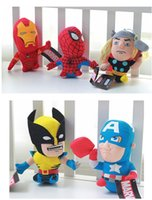 Wholesale 100pcsThe avengers plush toy cm American anime superhero spiderman batman q version stuffed dolls soft toys set CM FREE FEDEX