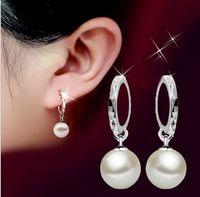 Cheap Wholesale-CM073 2015 New Statement wedding 925 Sterling Silver Shining CZ Diamond Crystal Shambhala pearl drop Earrings Vintage Jewelr