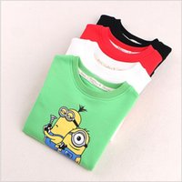 Wholesale 4 color Kids Despicable Me coat jacket Minion Collar Hoodies outwear baby Cartoon T shirts Kids Sweatshirt hooded Clothes jumper BBA4174