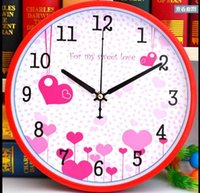 Wholesale 12 quot quot Cartoon Lovely Heart Kids Wall Clock Mute creative bedroom children modern quartz clock Wall Clock Home Decoration