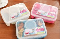 Wholesale High Quality Bento Lunch Box Fully Sealed Food compartment Bento Box Soup Bowl With Plastic Scoop Pratos Microwave Meal