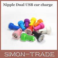 Wholesale Double Ports USB Car Charger Dual Nipple Dual Mini ports USB Charger Adapter A Charger For Iphone S Samsung Galaxy S4 Note HTC