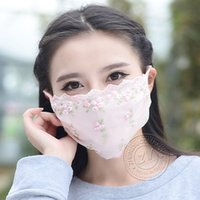 Wholesale Women Masks New Masks Lady Lace Face Sunscreen Dustproof Shield Breathable Embroidery Face Summer Supply HOT