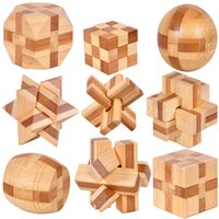ancient games - 9pcs MINI Ancient kids educational learning wooden toys D IQ brainteaser adult burr puzzle lock and unlocking games
