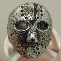 american forging - men friday the jason hockey mask L forged stainless steel ring
