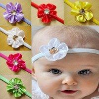 Wholesale Retail Newborn Baby Girls Satin Ribbon Flower Headbands For Photography Props Infant Baby Headband C116