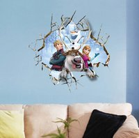 Wholesale Fashion Hot PVC Large Elsa Frozen Christmas Wall Stickers Bedroom Decoration Olaf Wall Decal for Kids Rooms Decor