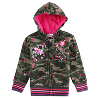 Wholesale nova kids winter coats army green children outwear flower embroidery baby girls fleece hoodie jackets designer camo hooded sweatshirts F3336