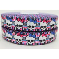 Wholesale 7 quot mm Blue Pink Skulls Cartoon Monster High Printed Grosgrain Ribbon for Bows DIY Craft Decos Sewing yards