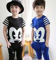 cartoon print t-shirt - 2015 Childrens Clothing Hot Sale Two Colors Boys Korean Style Cotton Cartoon Printed Set Short Sleeve T shirt And Haren Pants Casual Set