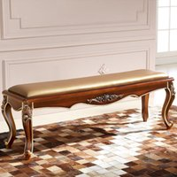 bench ends - The end of the bed and solid wood bed Paphia stool stool high American bench bed BH9801