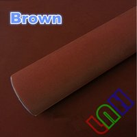 Wholesale Brown Velvet Suede fabric sticker vinyl for car body wrap decoration film air bubble free mX15m ftX49ft