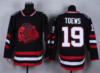 Wholesale Blackhawks Toews Hockey Jerseys Chicago Hockey Jerseys Skull Head Black Hockey Jersey and Red Hockey Wears for Stanley Cup Champion