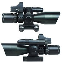 Wholesale 2 X40 Tactical Rifle Scope w Green Laser Mini Reflex MOA Red Dot Sight