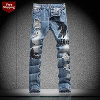 Wholesale Embroidery Eagle Hole Jeans Mens Fashion Brand Slim Straight Washed Ripped Destroyed Jeans Men Casual Skinny Vintage Style