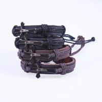 Wholesale Cross Bible Charm Braided Bracelet Urban Jewelry Handmade Black Genuine Leather Adjustable Wristband retro Jewelry