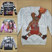 Wholesale Women Men s d sweatshirt cartoon jordan Biggie Wiz Khalifa emoji print pullover sports Hoodie Hip hop rock track