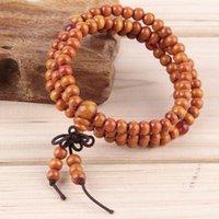 2016 vente chaude 108 * 6mm Vintage perles de bois naturelles Bracelet extensible en bois faits à la main Hommes Femmes 108 Bouddha Bracelets 500pcs