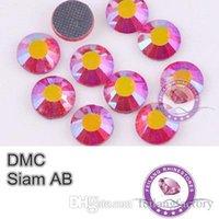Wholesale DMC Hotfix Crystals Rhinestone Siam AB bag CPAM Free Flatback Round Strass Garment Accessories