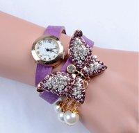 Wholesale New Fashion Ladies Large butterfly crystal pendant Wristwatches Women Dress Watches Bracelet quartz watch