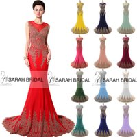 Crew dubai - Luxury Evening Dresses Sexy Gold Lace Appliques Royal Blue Fuchsia Mint Mermaid Sheer Crew Neck Backless India Dubai Formal Party Gowns