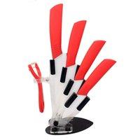Wholesale 5pcs set Ceramic Knife Kitchen Knife Sets White Blade quot Paring Knife quot Fruit quot Utility quot Chefs Ceramic Peeler Knife Shealth Free Shiping