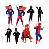 Wholesale Hot color Spiderman Superman Batman Zorro Halloween Costume Suits Kits Kids BABY long sleeve superhero costume cosplay set