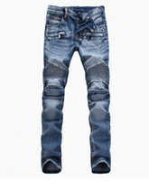cotton jeans - Men s foreign trade light blue jeans pants Balmain motorcycle pants men washing to do the old fold jeans