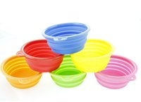 plastic bowl wholesale - Portable Pet Dog Cat Fashion Silicone Collapsible Feeding Feed Water Feeders Foldable Travel Food Bowls Dish colors Frisbee
