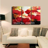 artist houses - Directly From Artist Red Flower Handpainted Modern Abstract Oil Painting On Canvas House Painting JYJATH047