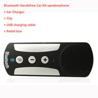 Wholesale Bluetooth Car Kit Visor Multipoint Wireless Bluetooth Handsfree Speakerphone Handsfree car kit Loudspeaker with car charger for iphone