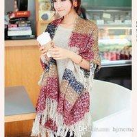 Wholesale 2014 New Autumn Winter Thicken Cashmere Infinite Tassel Scarf Print Colorful Plaid Foulard Women Scarves Shawl H0208c