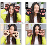 Wholesale pair Winter Fluffy Bear Cat Plush Paw Claw Glove Novelty Halloween Soft Toweling Lady Half Covered Gloves Mittens FK673099