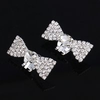 Wholesale High quality lady shoes clip Crystal Bow shoes decoration fashion women shoes wedding rhinestone shoe clip accessories