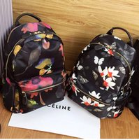 Wholesale 2015 New Fashion Backpacks Printing Waterproof Nylon Fabric With Cowhide Leather Female Bags Backpack Style Backpacks