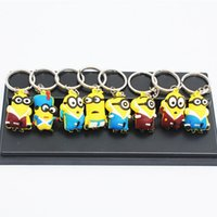 Wholesale DHL Despicable Me Minion Keychains Pendants Keyring Minions Key Chain Doll Toys set