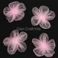 Wholesale 100pcs Small Organza Pink Flowers Great Wedding Decoration Flowers Wedding Favor ribbon flowers pink mm diy applique