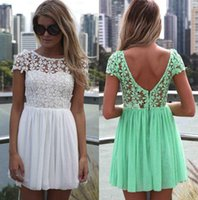 embroidered chiffon lace - 2015Fashion Women Lace Dress Crochet Embroidered Patchwork Girl Pleated Tulle Chiffon Lace Backless Party Club Dresses Custom Made Cheap