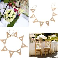 banner offers - 2015 Special Offer New Vintage Bunting Love Heart Hessian Burlap Fabric For Married Wedding Party Banner Decor