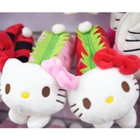 Wholesale Hello Kitty Plush Pencil Case Box Makeup Case Maquillage Holder Strawberry Shaped Soft Stationery Pen Box styles Brand New