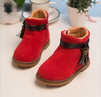 kids rubber boots - Winter Baby Childs Martin boots Infant Baby Leather Tassels Bow Shoes Children Gilrs Shoes Kids Prewalker Boots Red Rose Blue Brown K2525