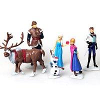Wholesale 6pcs set Frozen Anna Elsa Hans Kristoff Sven Olaf PVC Action Figures Toys Classic Toys A044