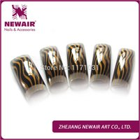 airbrushed tips - french airbrushed cracking design nail tips gold and black makeup half cover professional nail art tips