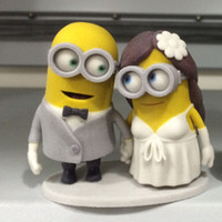 Wholesale Funny Wedding Cake Toppers Custom Dispicable Me Minions Handmade Table Centerpieces Mrs Mrs th Birthday Cake Toppers