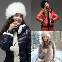 Wholesale Fashion New Womens Faux Fur Russian Trapper Hat Winter Warm Beret Cap Earflap Hat with Balls