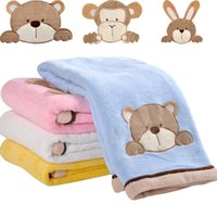 printed fleece blanket - Plush Fleece Blankets Baby Blankets Bed Blanket Quilt For Infant Travel Blanket Cute Air Conditioner Blanket Soft Cartoon Fashion Kid Sheets