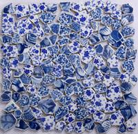 Wholesale GM05 Ceramic mosaic blue flower floor tile fish pond background wall decorated sedan stone mosaic