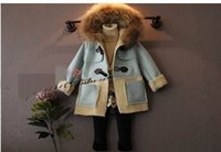 wool fabric coat - 2015 New Children Coats Girl Heavy Hair Collar Lambs Wool Lining Suede Fabric Outerwear Y