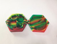 Wholesale Colorful L T MM hexagon silicone jars dab wax vaporizer oil container